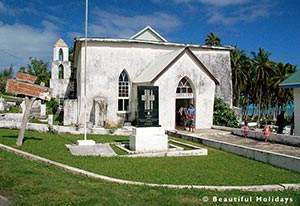 picture of church at arutanga village taken on a sightseeing tour
